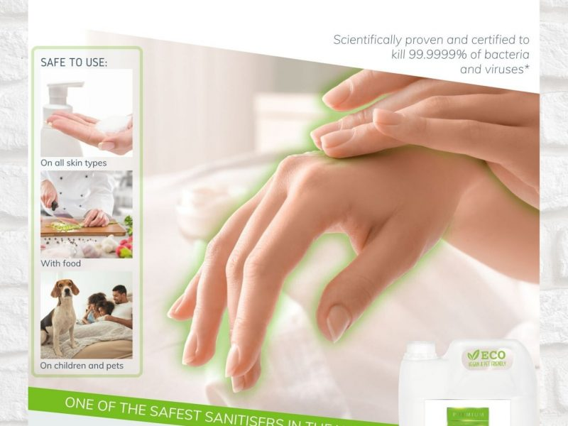 Premium Hand and Surface Sanitiser Brochure Cover