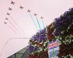 Union Jack living wall with Red Arrows